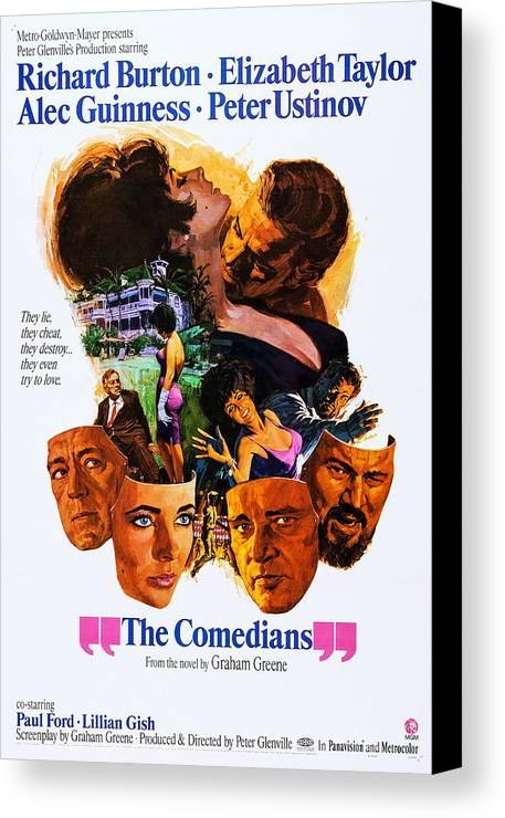 1960s Movies Canvas Print featuring the photograph The Comedians, Us Poster, Bottom by Everett