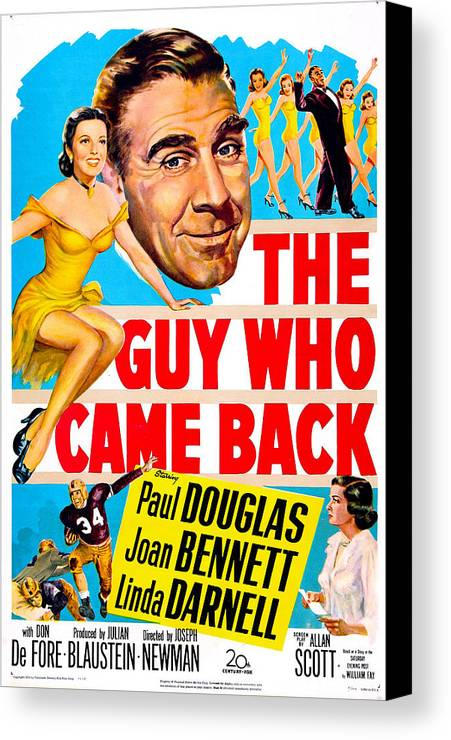 1950s Poster Art Canvas Print featuring the photograph The Guy Who Came Back, Us Poster, Paul by Everett