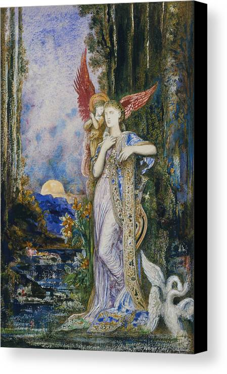 Angels; Moon; Female; Symbolism; Symbolist Canvas Print featuring the painting The Inspiration by Gustave Moreau
