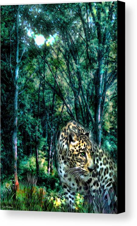 Leopard Canvas Print featuring the painting The Leopard Is Hungry by Tyler Robbins