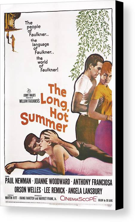 1950s Poster Art Canvas Print featuring the photograph The Long, Hot Summer, Us Poster by Everett