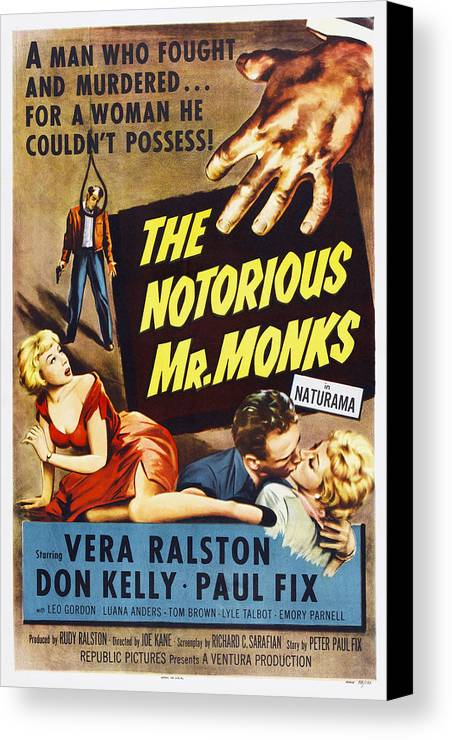 1950s Poster Art Canvas Print featuring the photograph The Notorious Mr. Monks, Us Poster Art by Everett
