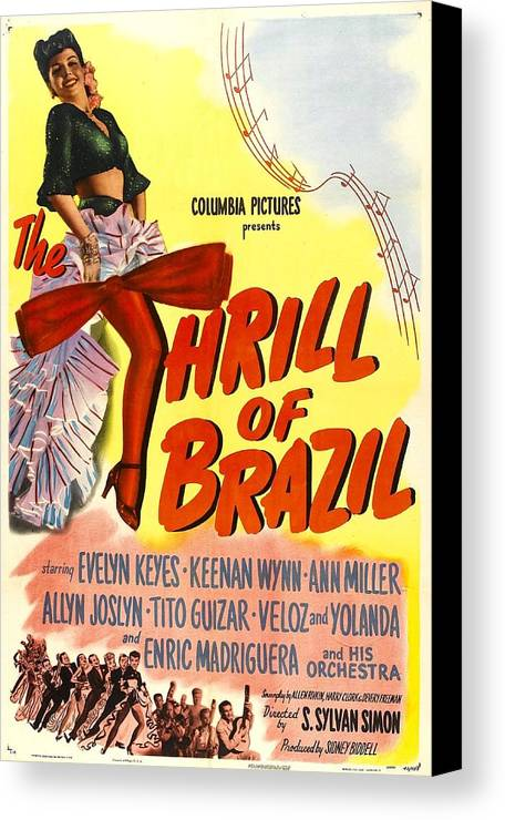 1940s Movies Canvas Print featuring the photograph The Thrill Of Brazil, Us Poster, Evelyn by Everett