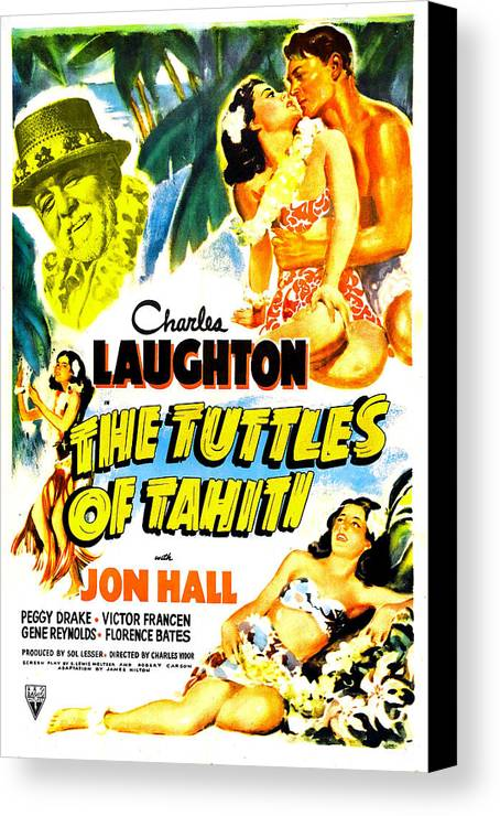 1940s Movies Canvas Print featuring the photograph The Tuttles Of Tahiti, Us Poster, Top by Everett