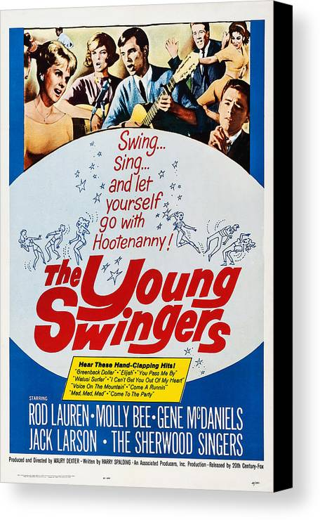 1960s Movies Canvas Print featuring the photograph The Young Swingers, Us Poster Art, 1963 by Everett