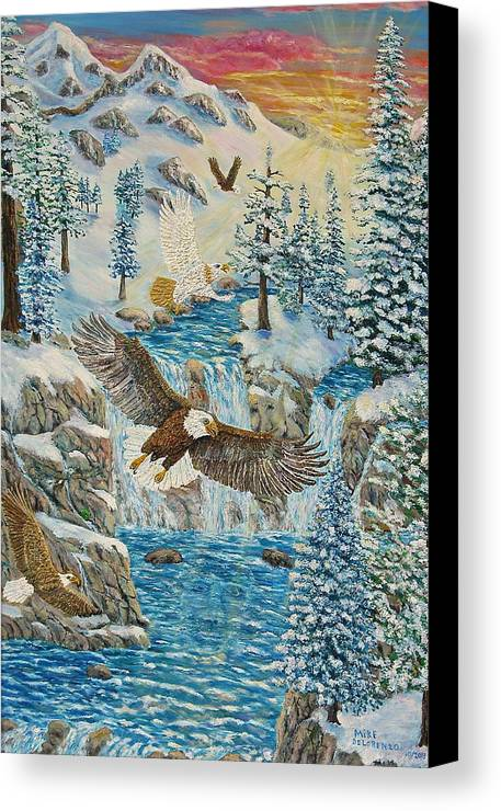 Eagles Canvas Print featuring the painting Transformation Of The Eagles by Mike De Lorenzo