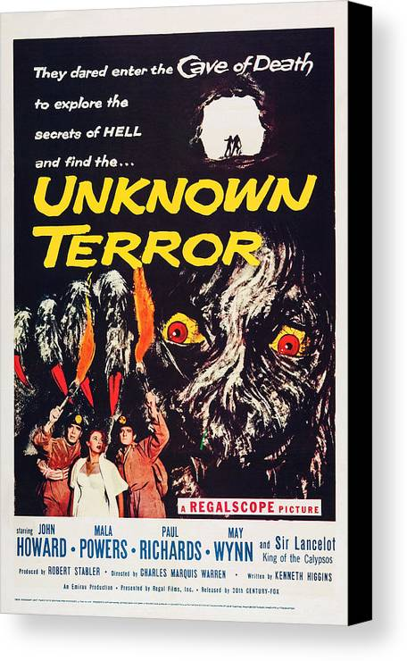 1950s Poster Art Canvas Print featuring the photograph Unknown Terror, Us Poster Art, Bottom by Everett