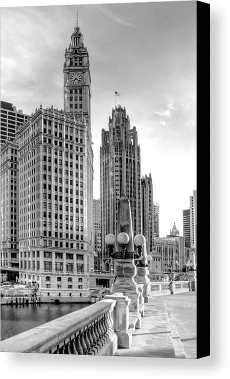 Architecture Canvas Print featuring the photograph Wrigley And Tribune by Scott Norris