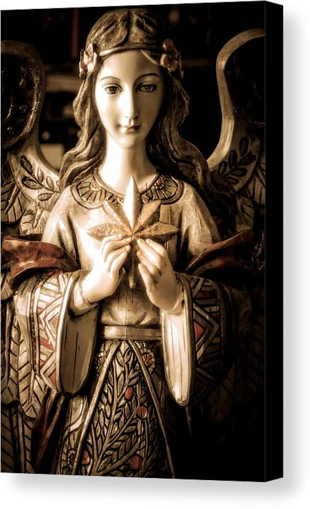 Statue Canvas Print featuring the photograph Christmas Angel by Julie Palencia