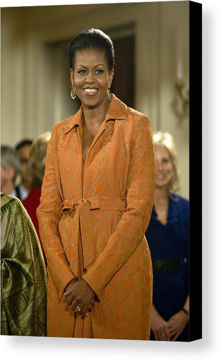 Michelle Obama Canvas Print featuring the photograph Michelle Obama At A Public Appearance by Everett