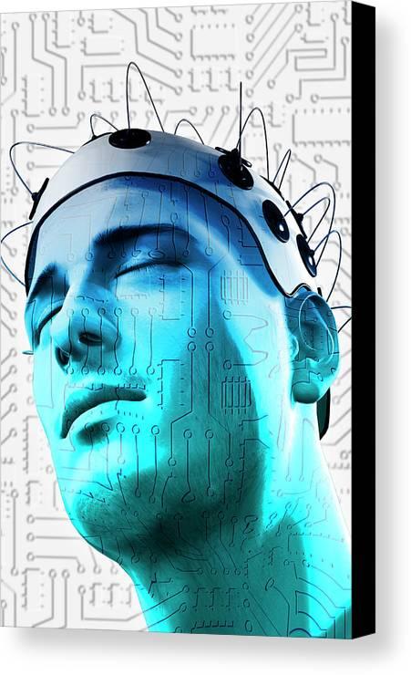 Vertical Canvas Print featuring the digital art Brain Circuit by MedicalRF.com