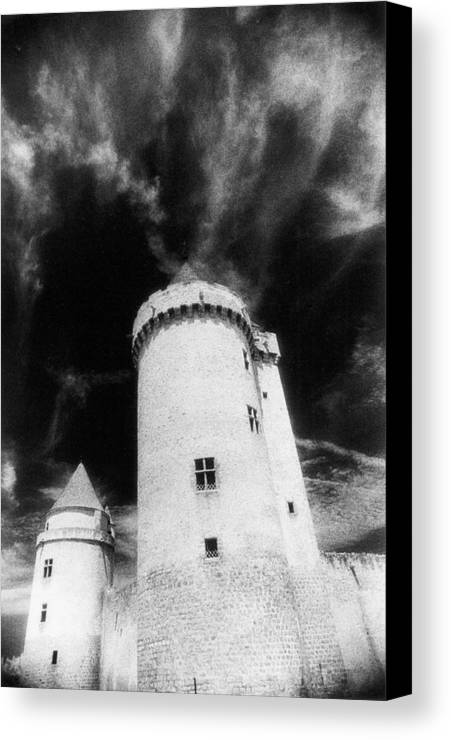 Architecture; Exterior; French; Castle; Renaissance; Tower; Towers; Fort; Fortress; Night; Dramatic; Atmospheric; Dark; Night; Stormy; Moonlit; Moonlight; Turret; Turrets; Haunted; Fairytale; Spooky; Eerie Canvas Print featuring the photograph Chateau De Blandy Les Tours by Simon Marsden