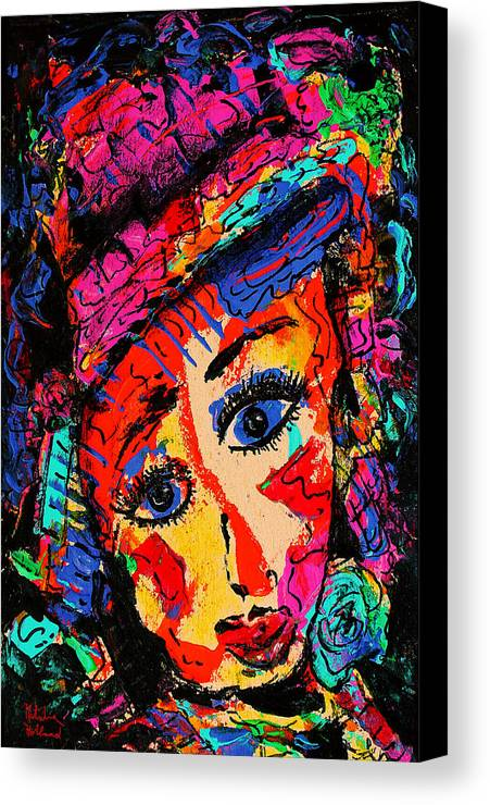 Face Canvas Print featuring the mixed media Colorful Expression 19 by Natalie Holland