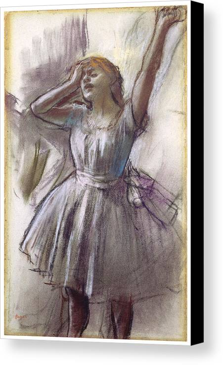 Dancer Stretching Canvas Print featuring the photograph Dancer Stretching by Edgar Degas
