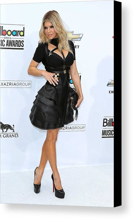 Fergie Canvas Print featuring the photograph Fergie Wearing A Herve Leger By Max by Everett