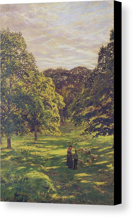 Woods; Shadows; Trees Canvas Print featuring the painting Meadow Scene by John William Buxton Knight
