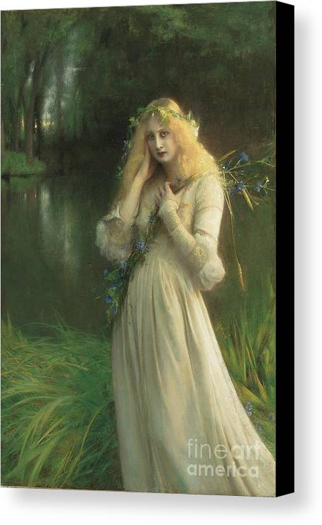 Ophelia Canvas Print featuring the painting Ophelia by Pascal Adolphe Jean Dagnan Bouveret