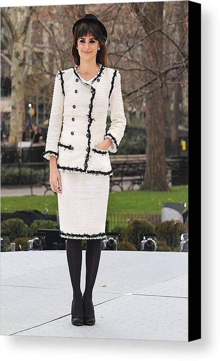Unbreakable Kiss Mistletoe Installation Ribbon Cutting Launch Canvas Print featuring the photograph Penelope Cruz Wearing A Chanel Suit by Everett