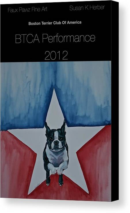 Boston Terrier Canvas Print featuring the painting Poster2 by Susan Herber