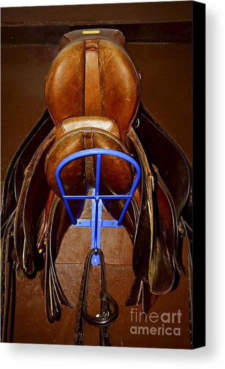 Saddle Canvas Print featuring the photograph Saddles by Elena Elisseeva