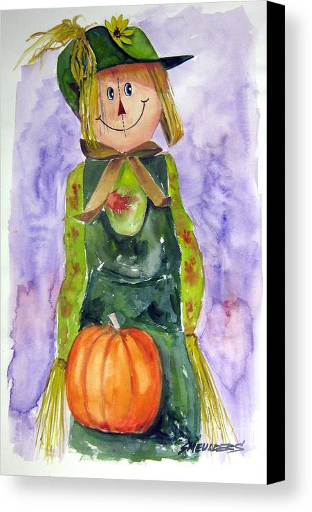 Scarecrow Canvas Print featuring the painting Scarecrow by John Smeulders