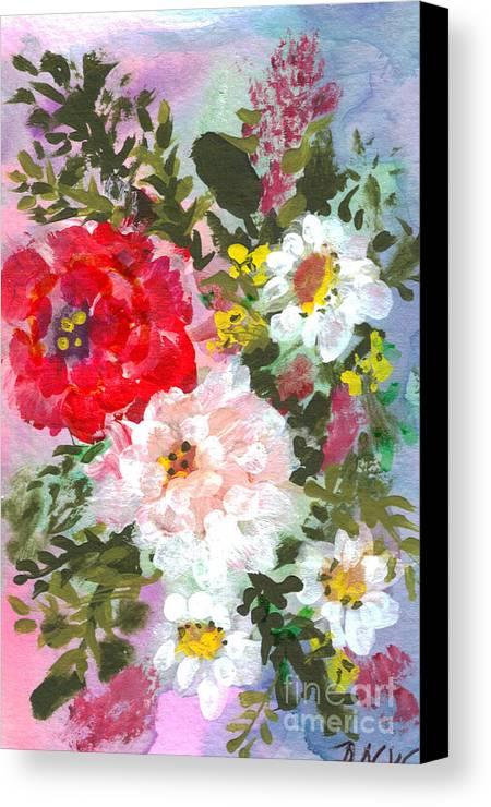 Splashy Canvas Print featuring the painting Splashy Flowers by Debbie Wassmann