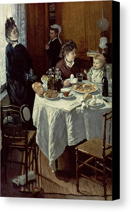 Interior;family;baby;impressionist;maid;feeding;meal;eating;food;daily Life;petit Dejeuner;table;boiled Eggs Canvas Print featuring the painting The Breakfast by Claude Monet