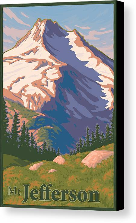 Portland Canvas Print featuring the digital art Vintage Mount Jefferson Travel Poster by Mitch Frey