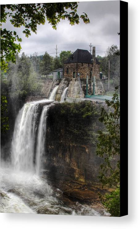 Ausable Chasm Canvas Print featuring the photograph Water Power Generator by Kean Poh Chua