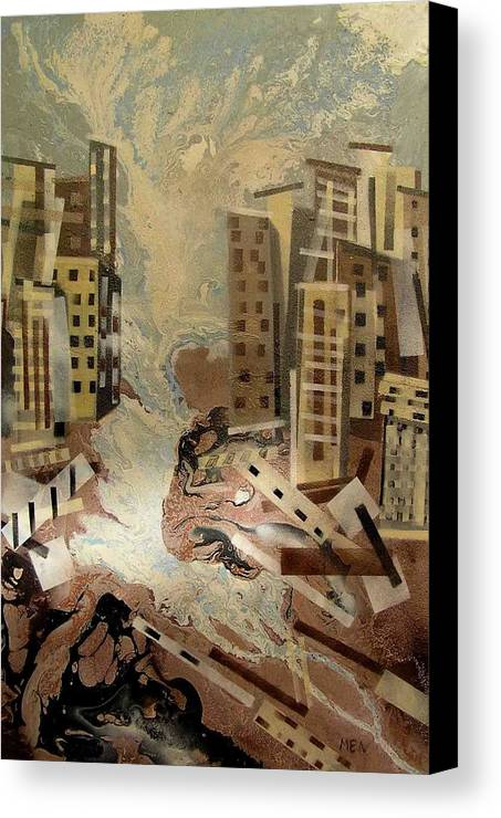 Canvas Print featuring the painting Skyleaking City by Evguenia Men