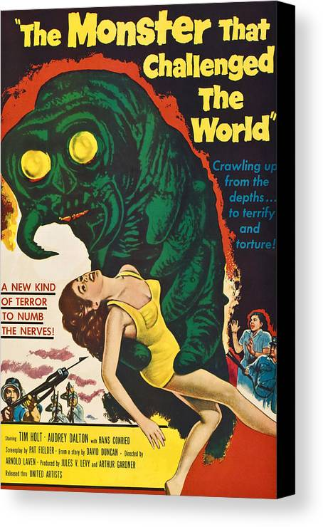 1950s Poster Art Canvas Print featuring the photograph The Monster That Challenged The World by Everett