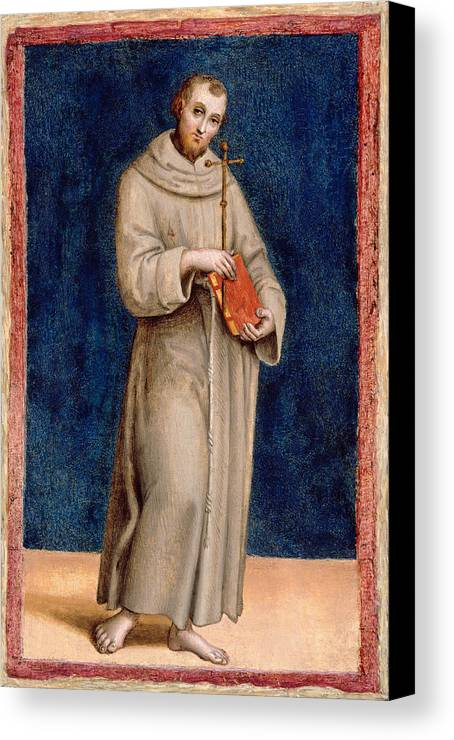 Raphael Canvas Print featuring the painting Saint Francis Of Assisi by Raphael