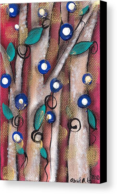 Whimsical Tree Canvas Print featuring the painting Atzin Tree by Abril Andrade Griffith