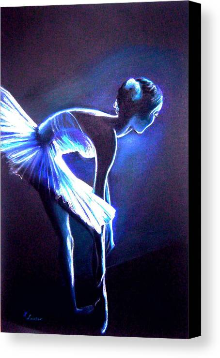 Ballet Canvas Print featuring the drawing Ballet In Blue by L Lauter