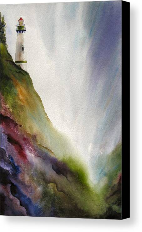 Lighthouse Canvas Print featuring the painting Beacon by Karen Stark