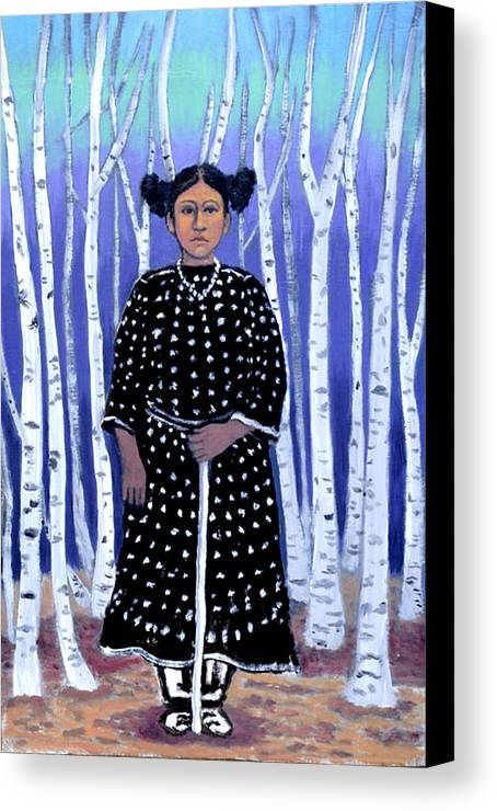 Native American Canvas Print featuring the painting Birch Tree Forest by Susan Stewart