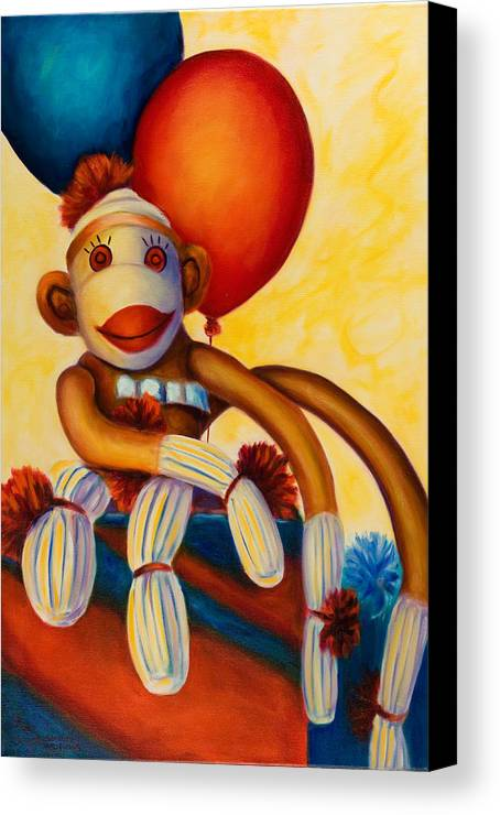 Sock Monkey Brown Canvas Print featuring the painting Birthday Made Of Sockies by Shannon Grissom