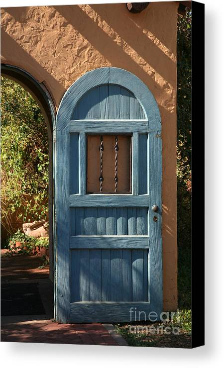 Door Canvas Print featuring the photograph Blue Arch Door by Timothy Johnson