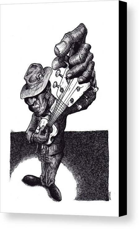 Blues Canvas Print featuring the drawing Blues Guitar by Tobey Anderson