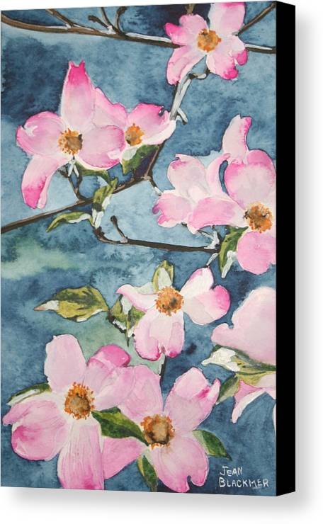 Flowers Canvas Print featuring the painting Blushing Prettily by Jean Blackmer
