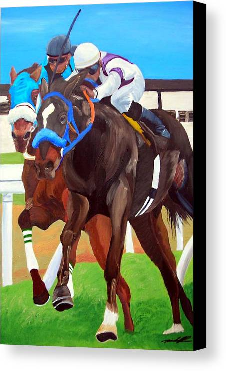 Horse Racing Canvas Print featuring the painting By A Nose by Michael Lee