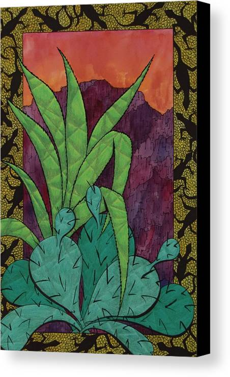 Landscape Canvas Print featuring the drawing Cactus Lizards by Del Lack