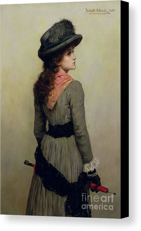 Hat Canvas Print featuring the painting Denise by Herbert Schmalz