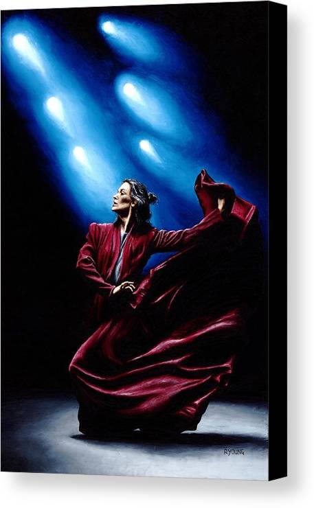 Original Oil Painting Produced On Stretched 91cm X 61cm Canvas Using A Knife Canvas Print featuring the painting Flamenco Performance by Richard Young