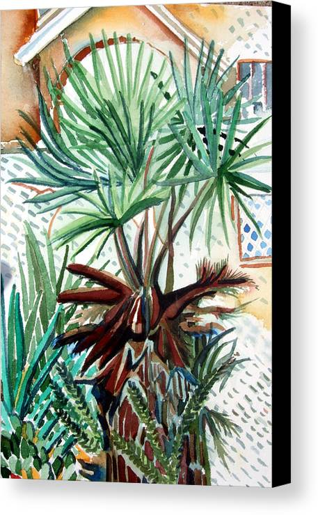 Palm Canvas Print featuring the painting Florida Palm by Mindy Newman