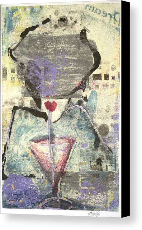 Cafe Canvas Print featuring the painting Girl With Drink by Maryn Crawford