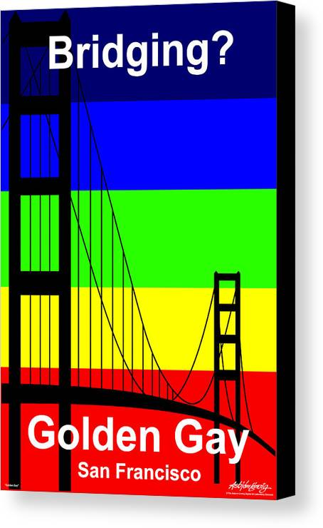 Gay Canvas Print featuring the digital art Golden Gay - Text by Asbjorn Lonvig