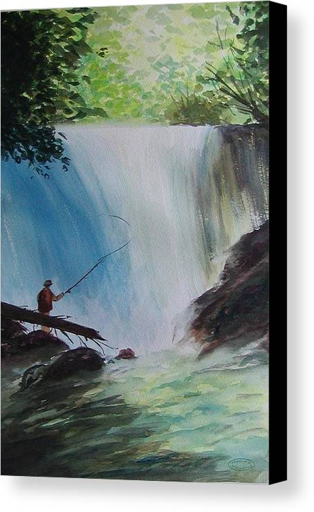 Fishing Landscape Canvas Print featuring the painting Gone Fishing by Sharon Steinhaus