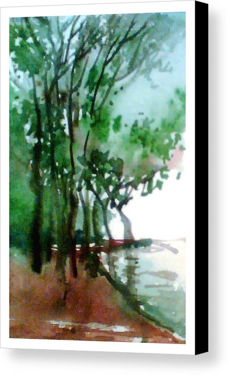 Water Color Canvas Print featuring the painting Greens by Anil Nene