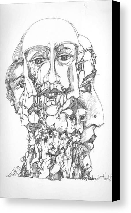 Surreal Canvas Print featuring the drawing Heads by Padamvir Singh